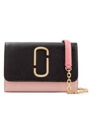 Snapshot two-tone textured-leather shoulder bag