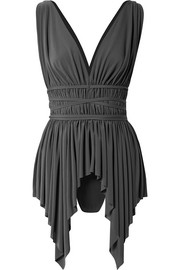 Norma Kamali Goddess belted asymmetric swimsuit