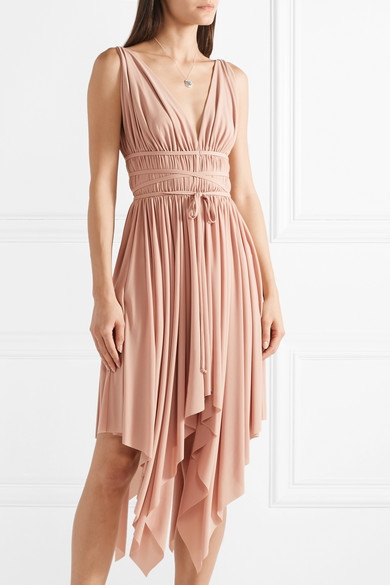 Goddess Ruched Stretch-jersey Midi Dress - Antique rose Norma Kamali How Much BjlIyD3AuY