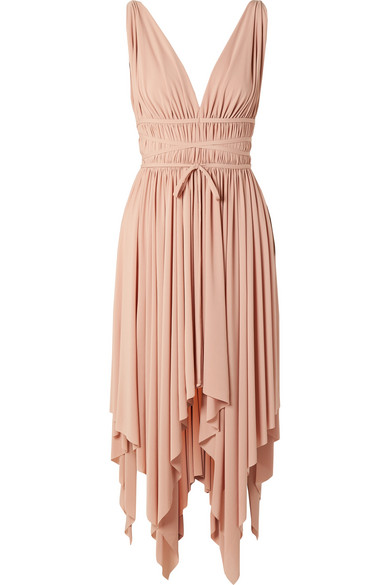 NORMA KAMALI Goddess Ruched Stretch-Jersey Midi Dress in Antique Rose