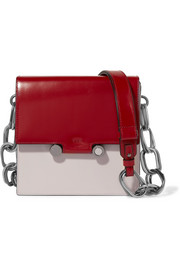 Box patent-leather shoulder bag