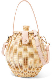 Ulla Johnson Tautou mini leather-trimmed wicker shoulder bag
