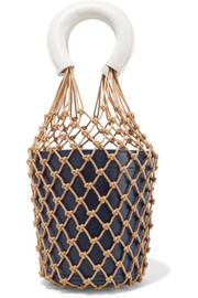 STAUD Moreau two-tone macramé and leather bucket bag