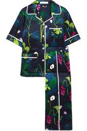 Daria printed silk-satin pajama set