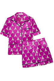 Millicent printed silk-satin pajama set