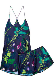 Bella printed silk-satin pajama set
