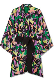 Mimi printed silk-satin robe
