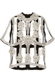 Christopher Kane Crystal-embellished organza and crepe top