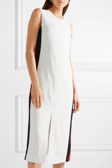 Striped Crepe Midi Dress - Ivory Burberry Wiki Sale Online Official For Sale Store Cheap Price lzc8xRxQ