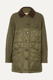 Corduroy-trimmed canvas and quilted shell jacket