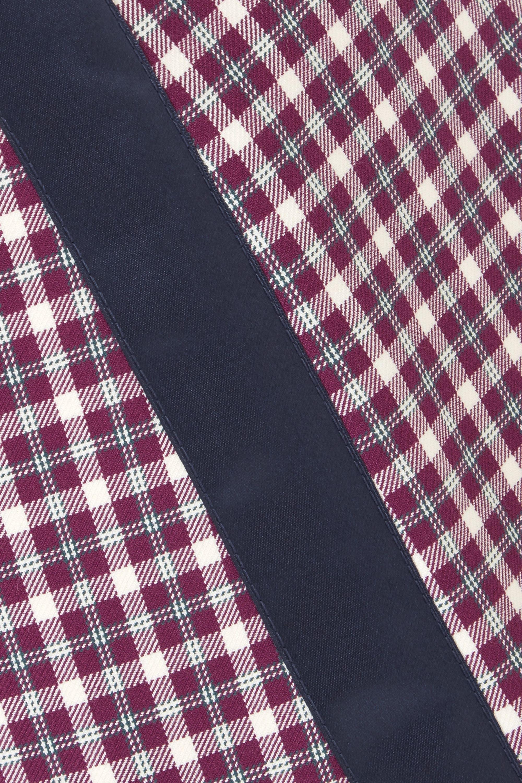 Burberry Satin-trimmed checked cotton-blend mini skirt