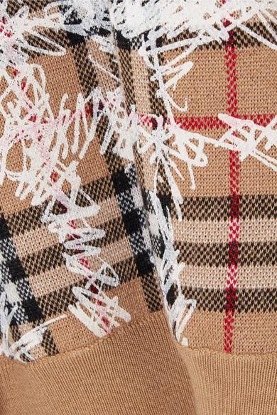 Burberry Karierter Pullover aus Merinowolle mit Print