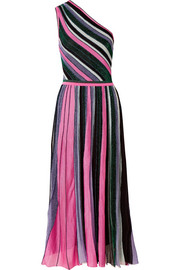 Missoni One-shoulder pleated metallic stretch-knit midi dress