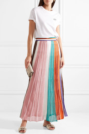 Pleated striped metallic stretch-knit maxi skirt