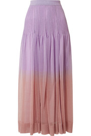 Missoni Pleated ombré metallic stretch-knit maxi skirt