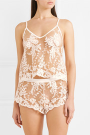 Rosie embroidered cotton-blend tulle camisole