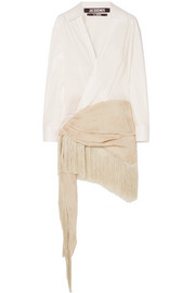 Cotton-poplin and fringed embroidered crepe de chine dress
