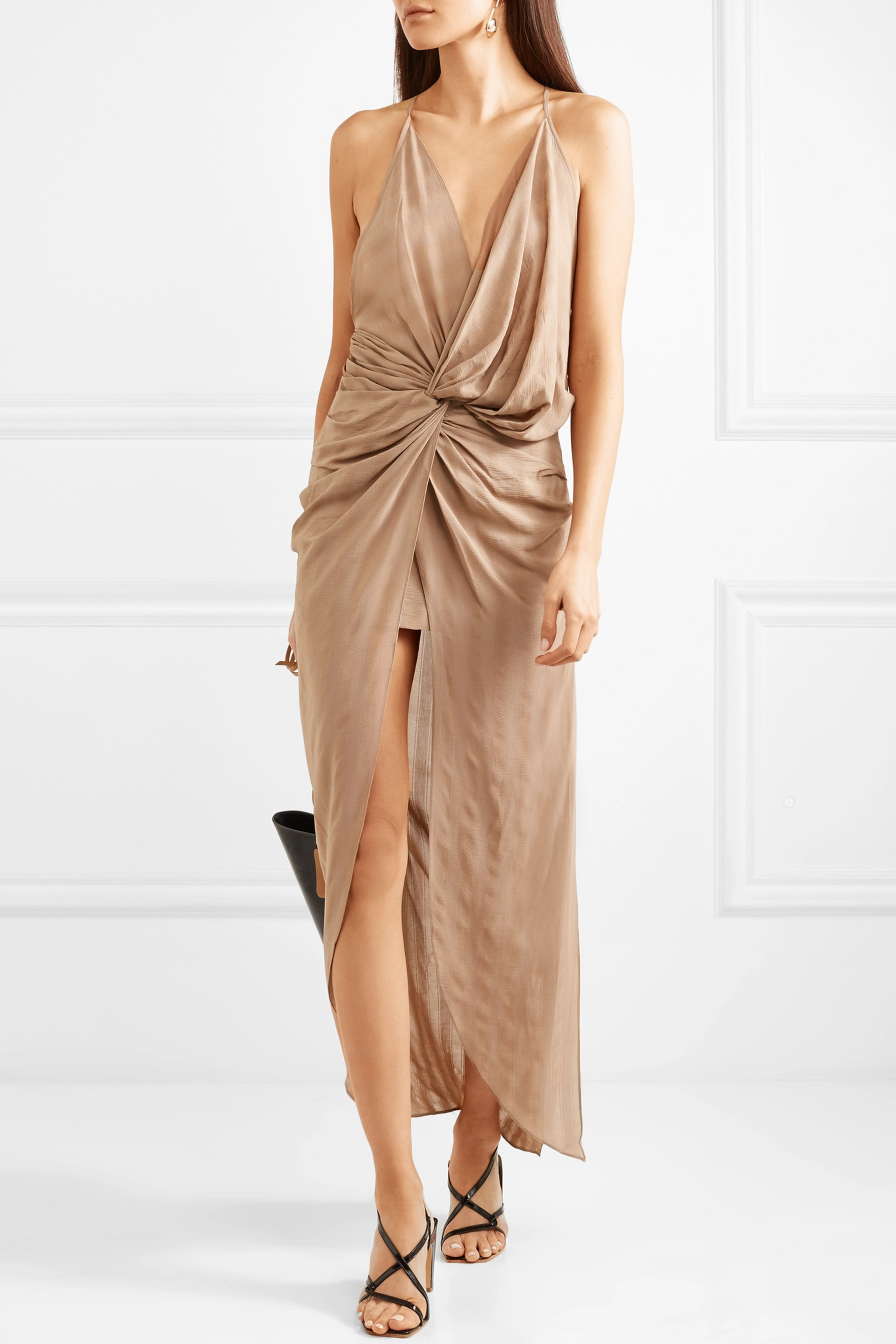 Jacquemus Bayamo twist-front striped gauze midi dress