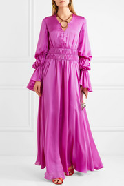 Ansari ruched silk-satin maxi dress