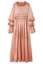 Zoya ruched silk-satin maxi dress