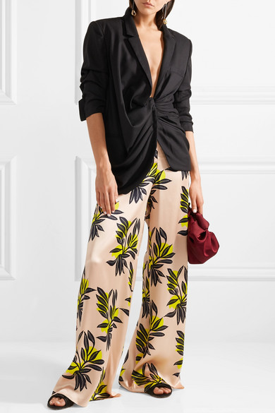 Roksanda Bohri Hose mit weitem Bein aus Seidensatin mit Blumendruck