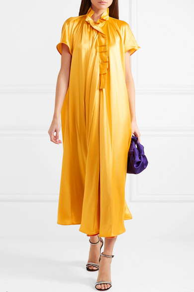 Satin midi dress yellow