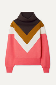 Marc Jacobs Oversized ribbed knit-paneled jersey sweatshirt