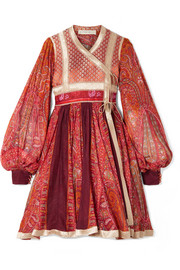 Etro Paneled cotton and silk-blend jacquard and printed chiffon wrap dress