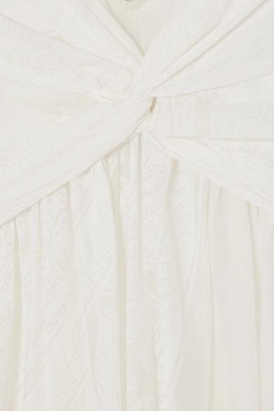 Etro Robe aus bedruckter Gaze aus einer Baumwoll-Seidenmischung mit Spitzenbesatz