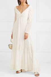 Lace-trimmed printed cotton and silk-blend gauze gown