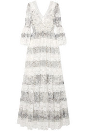 Etro Lace-trimmed printed cotton and silk-blend gown