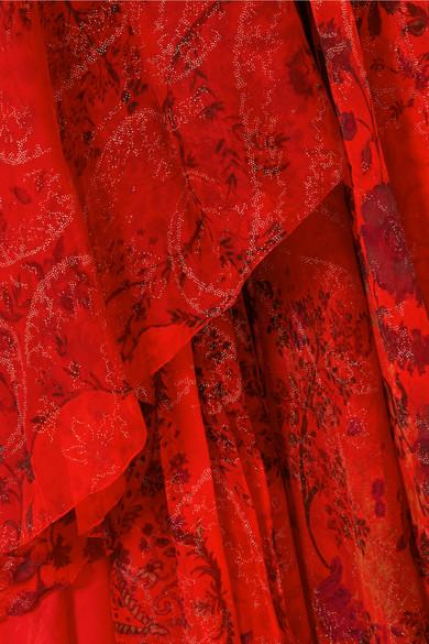Etro Robe aus bedrucktem Seidenchiffon mit asymmetrischer Schulterpartie und Verzierungen