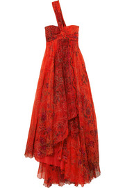 Etro One-shoulder embellished printed silk-chiffon gown