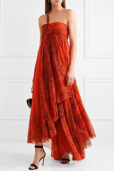 One-shoulder Embellished Printed Silk-chiffon Gown - Red Etro enLivrfXdk