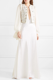Embellished cotton-blend cloqué and silk-chiffon gilet