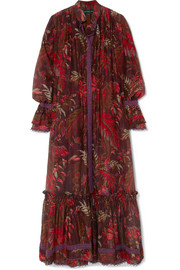 Etro Lace-trimmed printed cotton and silk-blend maxi dress