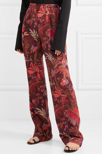 Etro Hose mit weitem Bein aus bedruckter Seide