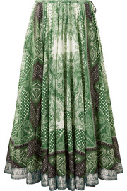 Etro Jacquard-trimmed printed cotton and silk-blend wrap skirt