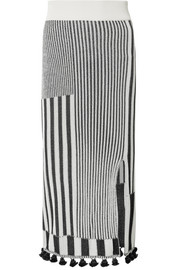 Spire tasseled ribbed stretch-knit skirt