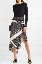 Lumieres asymmetric tasseled printed silk crepe de chine skirt