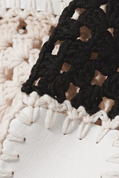 Altuzarra Coquelin Pullover aus gehäkelter Wolle, Kalbshaar und Leder