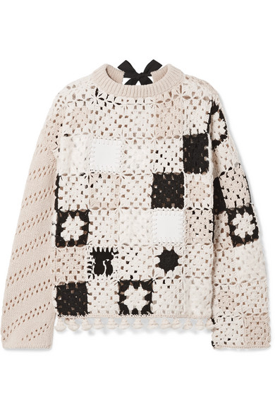 Coquelin Crocheted Wool, Calf Hair And Leather Sweater - Ivory Altuzarra
