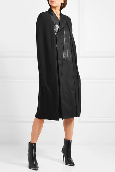 Rick Owens Cape Made Of Woven Games, Patent Leather Imitation And Satin In Patchwork Optics