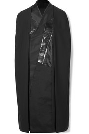 Rick Owens Patchwork woven, faux patent-leather and satin cape