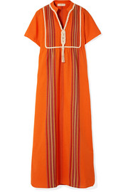 Tory Burch Lottie macramé-trimmed embroidered cotton-gauze maxi dress