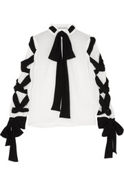Emilia Wickstead Fritz tie-detailed crinkled-crepe blouse