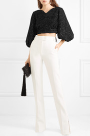 Francis cropped metallic open-knit top