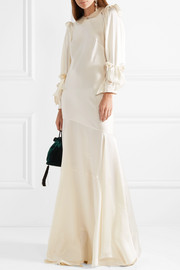Bow-embellished silk-satin gown