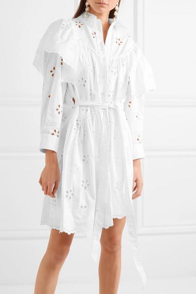 Simone Rocha Mehrlagiges Kleid aus Baumwolle mit Lochstickerei