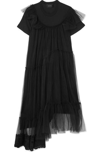 Simone Rocha Mehrlagiges Kleid aus Baumwoll-Jersey und Tüll